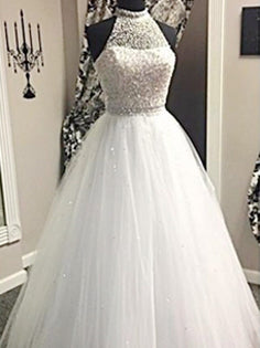 Beautiful Wedding Dresses High Neck Beading Floor-length Bridal Gown JKW060