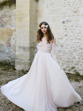 Sexy Wedding Dresses Beautiful A-line Longe Sleeve Tulle Long Bridal Gown JKW063