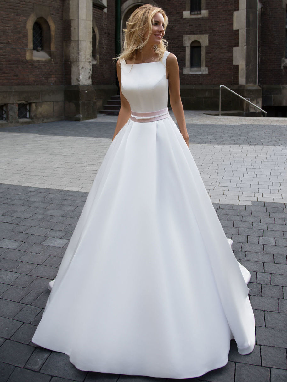 Fashion Simple Wedding Dresses Beautiful A-line Square Satin Ivory Bridal Gown JKW066