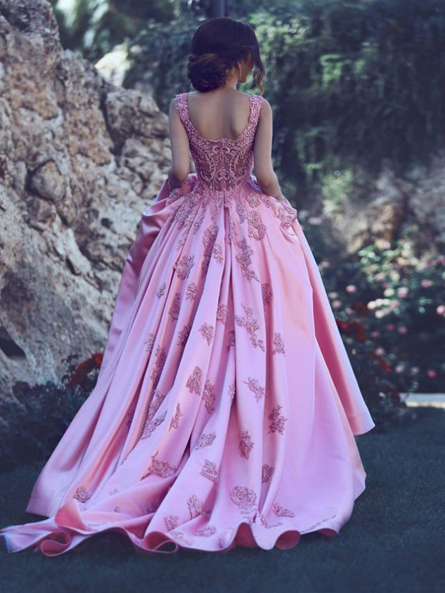 Beautiful Wedding Dresses Fuchsia A-line Appliques Satin Bridal Gown JKW067