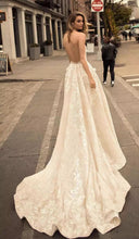 Sexy Wedding Dresses Halter Backless Sweep/Brush Train Bridal Gown JKW069