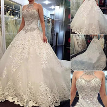 Luxury Wedding Dresses Halter Sexy Lace-up Sweep/Brush Train Bridal Gown JKW070