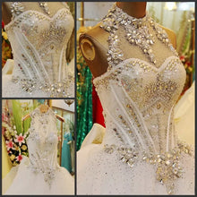 Beautiful Wedding Dresses Ball Gown Rhinestone Beading Sexy Bridal Gown JKW071