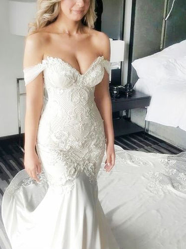 Trumpet/Mermaid Wedding Dresses Sexy Appliques Beading Sweetheart Bridal Gown JKW074