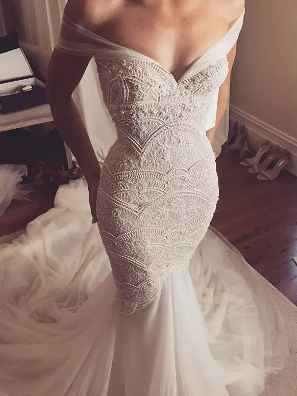 Beautiful Chic Wedding Dresses Off The Shoulder Lace Beading Bridal Gown Jkw076