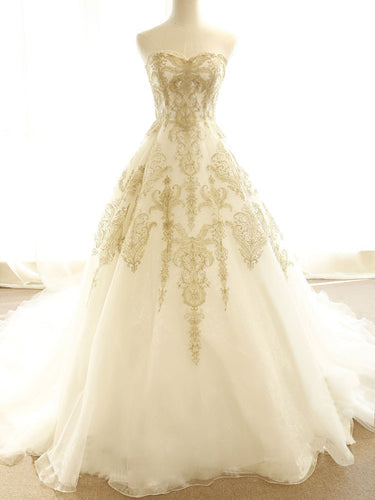 Chic Wedding Dresses Ivory Gold Appliques Sweep/Brush Train Bridal Gown JKW077