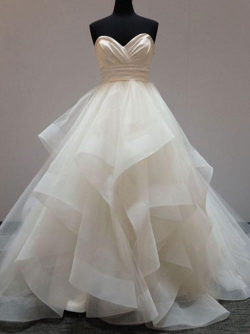 Ball Gown Wedding Dresses Sexy Sweetheart Short Train Tulle Bridal JKW079