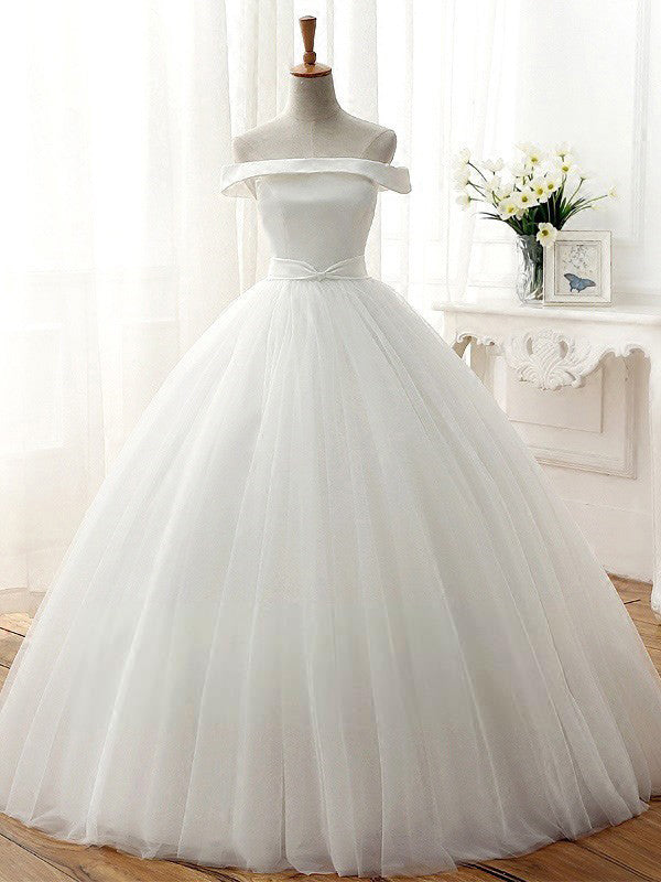 Cheap Wedding Dresses Simple Ball Gown Off-the-shoulder Tulle Bridal ...