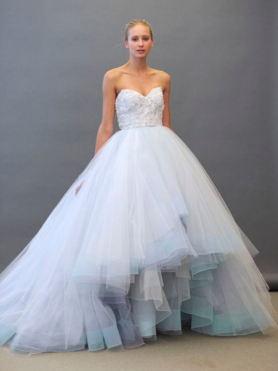 Luxury Wedding Dresses Colorful Ball Gown Appliques Tulle Bridal ...