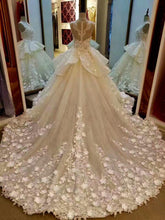 Beautiful Wedding Dresses Hand-Made Flower Sweep/Brush Train Bridal Gown JKW084