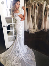 Sheath/Column Wedding Dresses Off-the-shoulder Sweep/Brush Train Bridal Gown JKW086