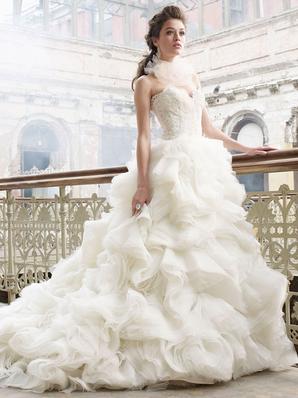 Luxury Beautiful Wedding Dresses Sweetheart Lace Tulle Bridal Gown ...