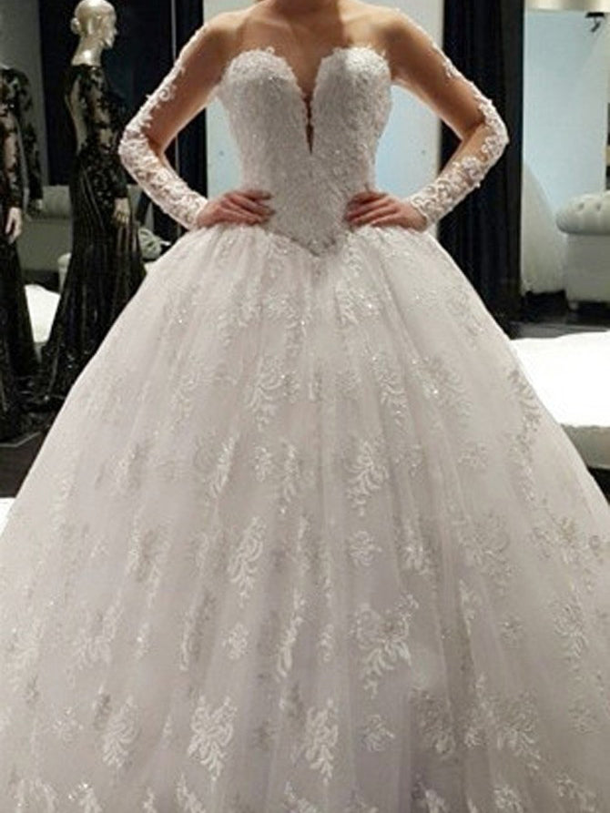 Romantic Wedding Dresses Long Sleeve Sweep/Brush Train Tulle Bridal Gown JKW090