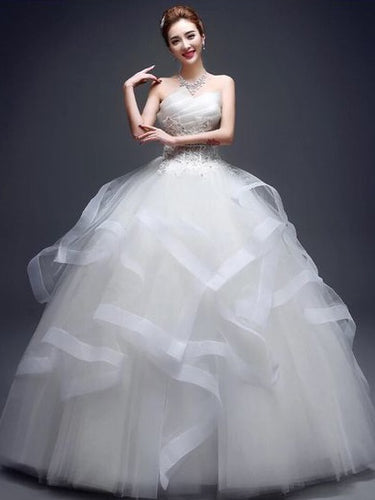 Ball Gown Wedding Dresses Strapless Floor-length Royal Blue Bridal Gown JKW094