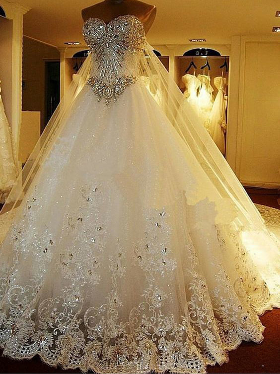 Luxury Wedding Dresses Rhinestone Sweep/Brush Train Tulle Bridal Gown JKW095