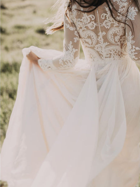 Chic Wedding Dresses Ivory Long Sleeve Floor-length Tulle Bridal Gown JKW097|Annapromdress