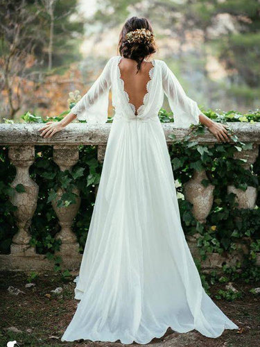 Cheap Wedding Dresses A-line Simple Ivory Appliques Chiffon Bridal Gown JKW099
