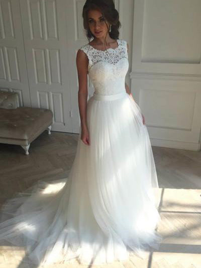 Beautiful Wedding Dresses A-line Short Train Ivory Tulle Bridal Gown JKW102