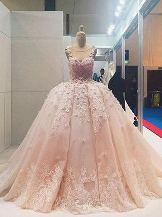 24194ac6cab Luxury Wedding Dresses Pearl Pink Ball Gown Sweep Brush Train Bridal Gown  JKW104