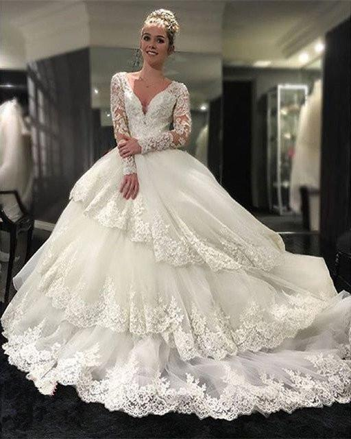Beautiful Wedding Dresses Long Sleeve Ball Gown Appliques Ivory ...