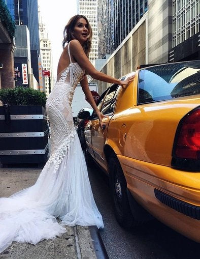 b1a882de8f8 ... Sexy Chic Wedding Dresses Straps Appliques Sweep Brush Train Backless  Bridal Gown JKW107 ...