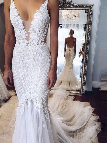 Sexy Chic Wedding Dresses Straps Appliques Sweep/Brush Train Backless Bridal Gown JKW107