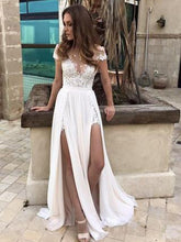 Simple Cheap Wedding Dresses Slit A-line Sexy Chiffon Bridal Gown JKW109