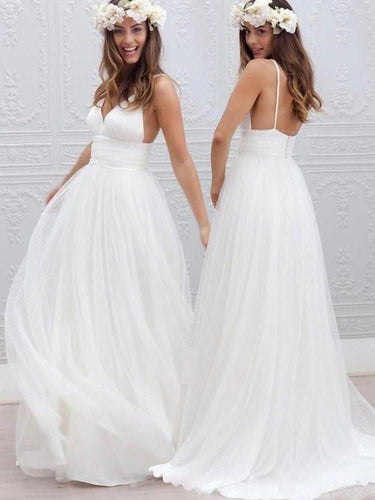 Cheap Wedding Dresses Ivory Spaghetti Straps Floor-length Bridal Gown JKW113