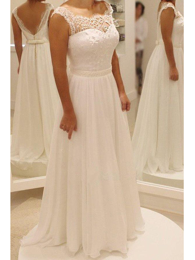 Beautiful Wedding Dresses Simple A Line Lace Floor Length Chiffon Bridal Gown Jkw114