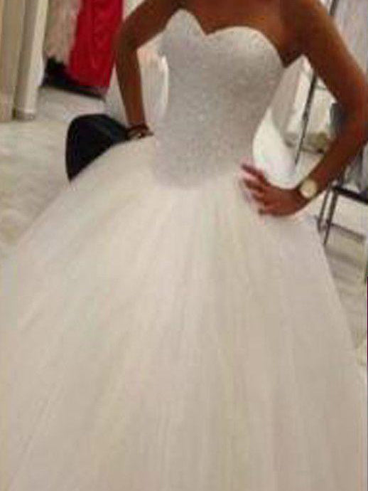 Luxury Wedding Dresses Sweetheart Ball Gown Floor-length Sequins Bridal Gown JKW115