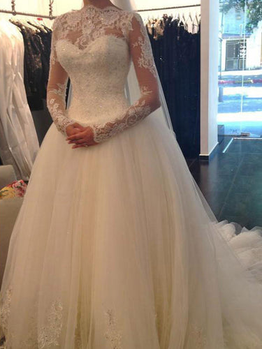 Chic Wedding Dresses Ball Gown Long Sleeve Sweep/Brush Train Bridal Gown JKW117
