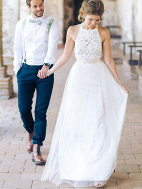 Beautiful Wedding Dresses Halter A-line Floor-length Tulle Lace ...