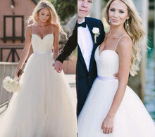 Beautiful Wedding Dresses Ivory Spaghetti Straps Short Train Tulle Sexy Bridal Gown JKW124|Annapromdress
