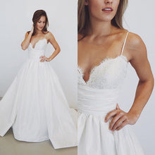 Beach Wedding Dresses Spaghetti Straps Sexy Taffeta Bridal Gown JKW127
