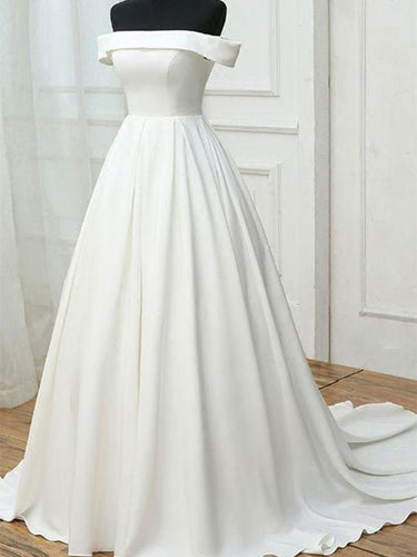 Chic Wedding Dresses Off-the-shoulder Lace-up Satin Sexy Bridal Gown JKW131