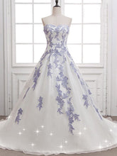 Cheap Wedding Dresses Ball Gown Sweep/Brush Train Appliques Sexy Bridal Gown JKW134