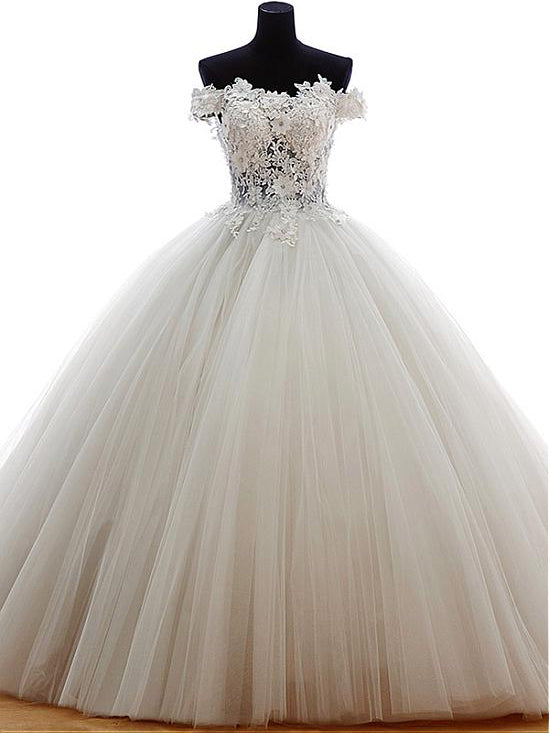 Chic Wedding Dresses Off-the-shoulder Appliques Tulle Ball Gown Bridal Gown JKW135
