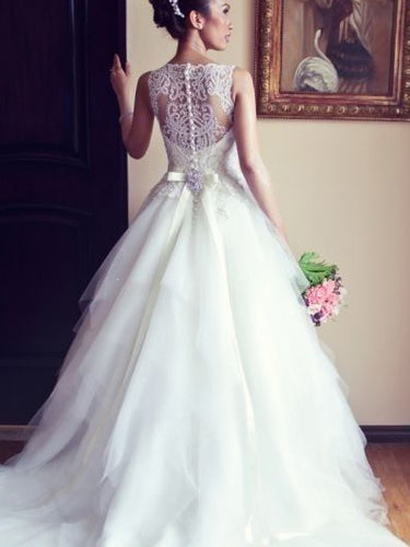 Lace Wedding Dresses A-line Scoop Sweep/Brush Train Beading Beautiful Bridal Gown JKW136