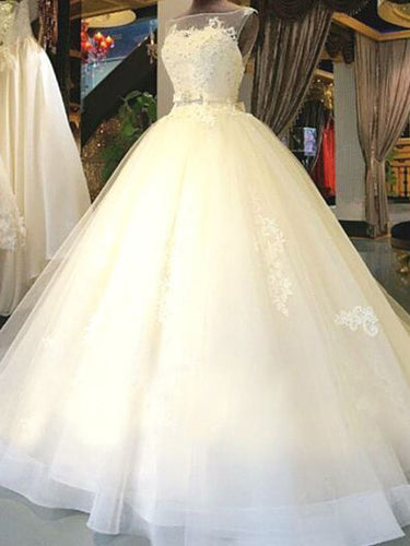 Luxury Wedding Dresses Bateau Ball Gown Appliques Bowknot Long Bridal Gown JKW137