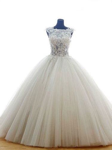 Ball Gown Wedding Dresses Sweep Brush Train Appliques Sexy Bridal Gown JKW138