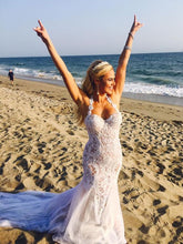 Sexy Wedding Dresses Trumpet Mermaid Appliques Halter Tulle White Bridal Gown JKW139