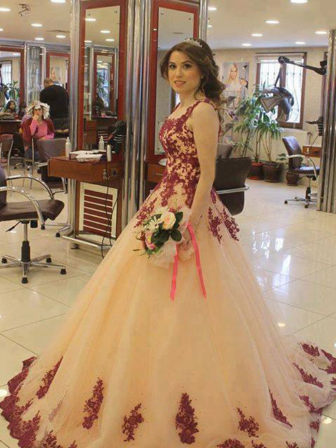 Beautiful Wedding Dresses V-neck Ball Gown Appliques Long Sexy Bridal Gown JKW141