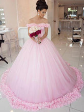 Ball Gown Wedding Dresses Sweep/Brush Train Hand-Made Flower Chic Bridal Gown JKW142