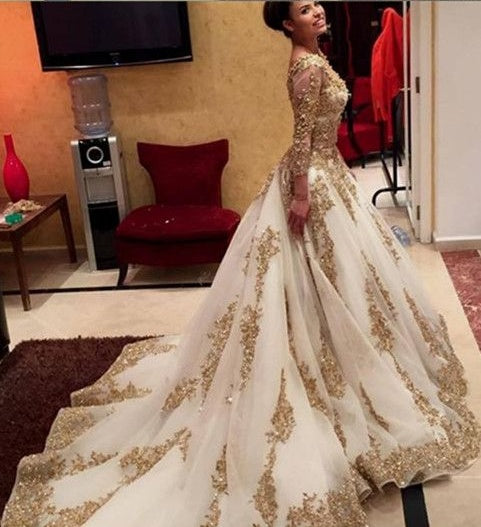 Two Piece Wedding Dresses Ball Gown V Neck Long Sleeve Sexy Bridal