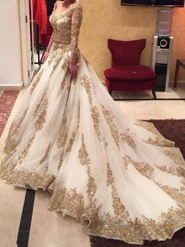 Two Piece Wedding Dresses Ball Gown V-neck Long Sleeve Sexy Bridal Gown JKW143