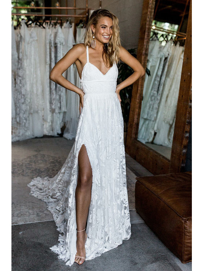 5b7c6df3bda5 Lace Wedding Dresses Spaghetti Straps Sweep Train Criss-Cross Straps Sexy  Bridal Gown JKW144
