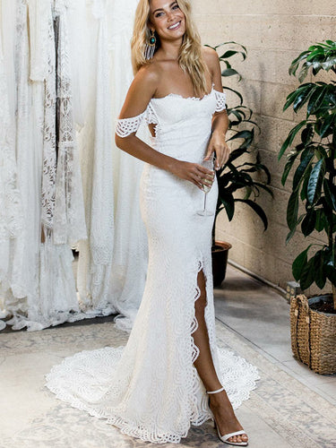 Chic Wedding Dresses Sheath Column Off-the-shoulder Lace Sexy Bridal Gown JKW147