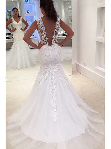 Mermaid Wedding Dresses Straps Sweep Train Appliques Sexy Bridal Gown JKW148