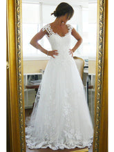 Chic Wedding Dresses V-neck A-line Brush Train Sexy White Lace Bridal Gown JKW149