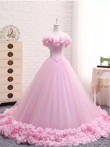 Ball Gown Wedding Dresses Off-the-shoulder Hand-Made Flower Pink Bridal Gown JKW151